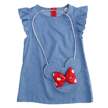 Kids Baby Girl Dress Minnie Mouse Bag +Demin Flying Sleeves Dress.