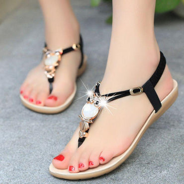 brand quality new bohemian beaded women flat sandals.