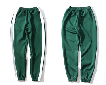 GONTHWID  Men Side Striped Zipper Pockets Track Harem Pants.
