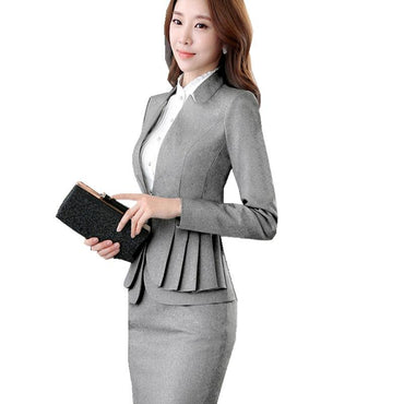 Office Uniform Skirt Autumn Full Sleeve Blazer 2 Pieces Suit.