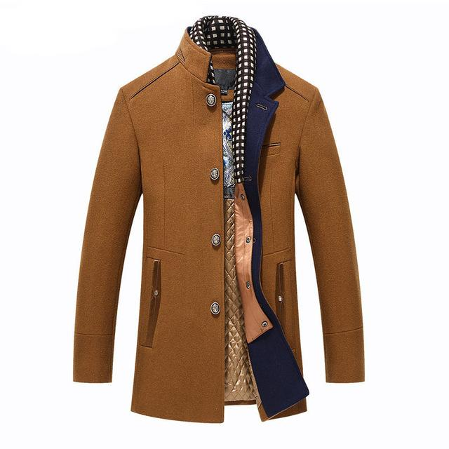 21b2231ae45 Thicker Mens Trench Coats 2017 Winter Long Wool Trench Coat Men Slim Fit  Casual Jackets Peacoat