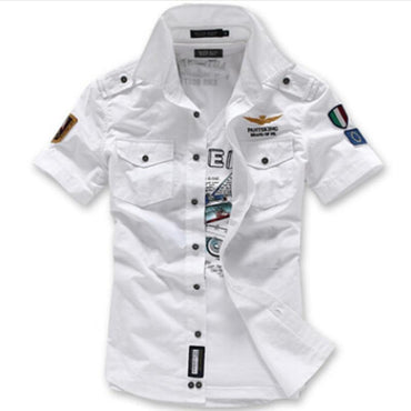 Fashion Airforce Uniform Military Short Sleeve Shirts Men's Dress Shirt.