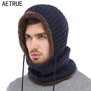 AETRUE Winter Knitted Hat Beanie Men Scarf Skullies Beanies Winter Hats Caps .