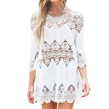 New Summer Swimsuit Lace Hollow Crochet Beach Bikini Cover Up