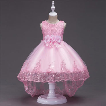 Pattern Flower Bow Bling Sequined Kids Princess Flower Girls Dress Pageant Party.