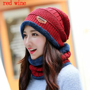 BINGYUANHAOXUAN  Men Warm Hats Cap Scarf  Winter Wool Hat Knitting for Men Caps .