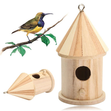 Wooden Bird House Hanging Nest Bird Nesting Boxes with Loop for Home Garden Yard Decoration Birdhouses Pet Supply Accessories