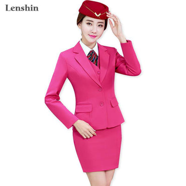 Office Ladies Rose Skirt Suit Uniform Designs Women Business Suits.