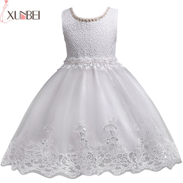 Lovely Lace Appliques Beaded Flower Girl Wedding Party Dress.