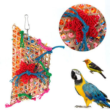 Colorful Bamboo Weave Cotton rope Swing Parrot Bird Toys Accessories