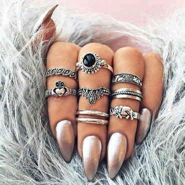 Vintage Knuckle Ring Set for Women.