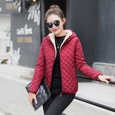 Parkas basic jackets Women Winter plus velvet lamb hooded Coats.
