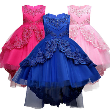 Summer Kids Formal Dress For Girls Clothes Flower Pageant.