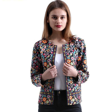 New Spring Botanical Autumn Multicolor Basic Jacket.
