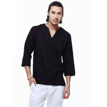 Spring linen shirt men casual cotton Breathable white soft three quarter shirts.