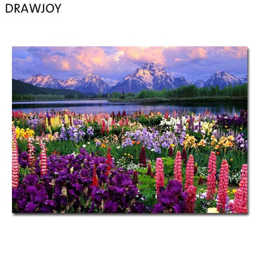 DRAWJOY Framed Landscape Picture DIY Oil Painting By Numbers Painting&Calligraphy Home Decor Wall Art GX21019 40x50cm