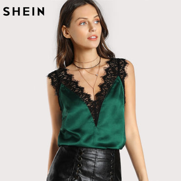 Lace Trim Double V Neck Satin Silk Top Sexy Tops.