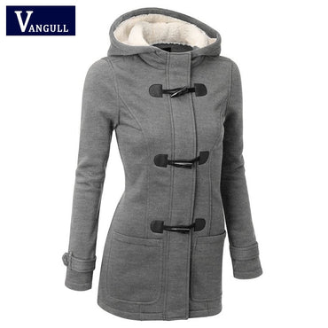 New Women's Hooded Coat Zipper Horn Button Outwear Jacket.