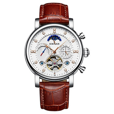 MAutomatic Tourbillon Skeleton Moon Phase Mens Watches