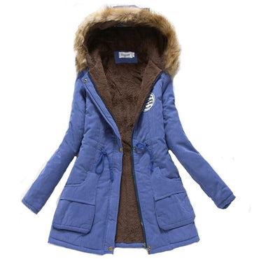 New women winter thicken warm autumn hooded cotton basic jacket.