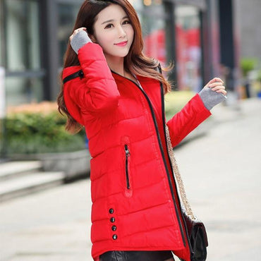 New women winter hooded warm coat slim cotton padded basic jacket.