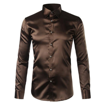 High Quality Silk Satin Shirt Men Chemise Homme Casual Shirts.