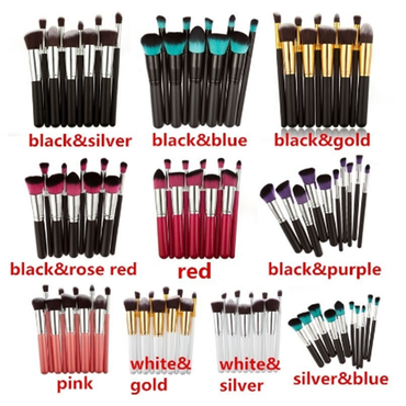 10Colors Professional 10Pcs Makeup Brush Sets