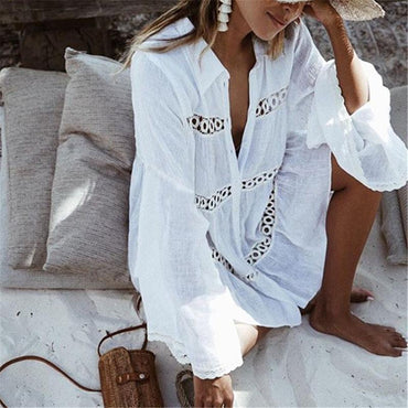 Bikini Cover Up Lace Hollow Crochet Swimsuit Beach Dress Women.