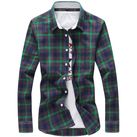 5XL Plaid Shirts Men Checkered Shirt Brand 2018 New Fashion Button Down Long Sleeve Casual Shirts.
