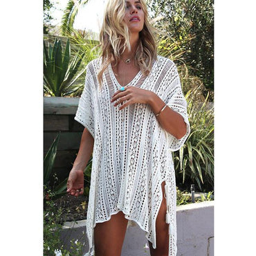 New Beach Cover Up Bikini Crochet Knitted Tassel Tie Beachwear Summer Swimsuit Cover Up.