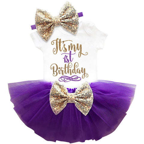 1 Year Baby Girl Birthday Dress Kids Baby Clothes Gold.