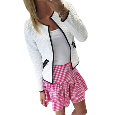 New Women Long Sleeve Lattice Tartan Cardigan Top Coat Jacket.