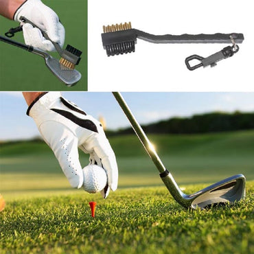 Mini Double Side Golf Brass + Nylon Golf Club Head Groove Cleaner Brush