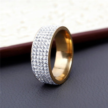 Row Lines Clear Crystal Wedding Rings For Women.