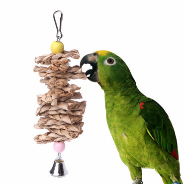 Bird Parrot Toys Natural Wooden Grass Chewing Bite Hanging Cage