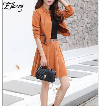 New Arrival Women 2 Pieces Set PU Leather Suede Women Skirt Suit.