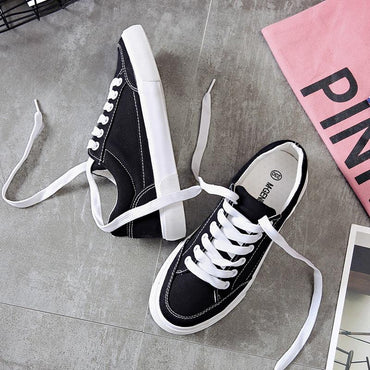 Women sneakers new arrivals fashion lace-up black/white casual canvas shoes.