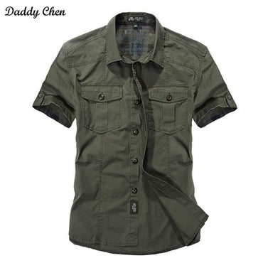 Jeep Solid Color Cotton Mens Shirts Short Sleeve.