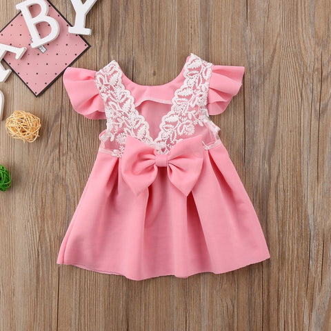 Pudcoco Baby Girls Dress Toddler Girls Backless Lace Bow Princess Dresses.