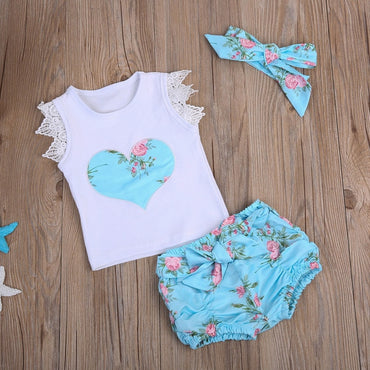 3pcs /set Newborn Baby Girls Flowers Vest Top 0-3T.