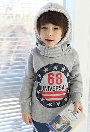 New Winter Korean And Monogrammed Hooded Children Brushed Hoodies.