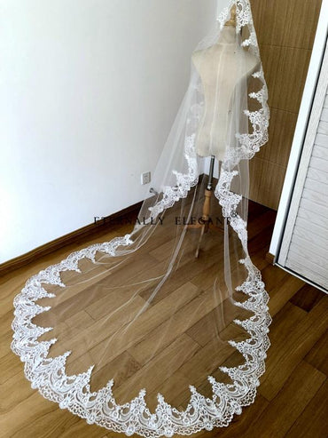 Beautiful Cathedral Length Lace Edge Wedding Bridal Veil With Comb Wedding Accessories.
