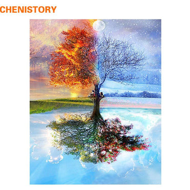CHENISTORY Frameless Four Seasons Tree Landscape DIY Painting By Numbers Kit Paint On Canvas Painting Calligraphy For Home Decor