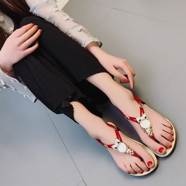 Women Elastic T-strap Bohemia Beaded Owl Slipper Flat Sandals