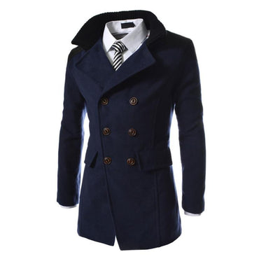 New MUQGEW Men Jacket Warm Winter Double Breasted Trench coat.