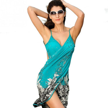 Women Beach Dress Sexy sling beach wear dress sarong bikini cover-ups.
