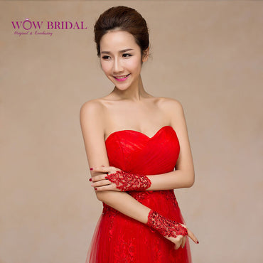 Red Short Lace Appliques Sequins Bridal Gloves Cheap Wedding Accessories.