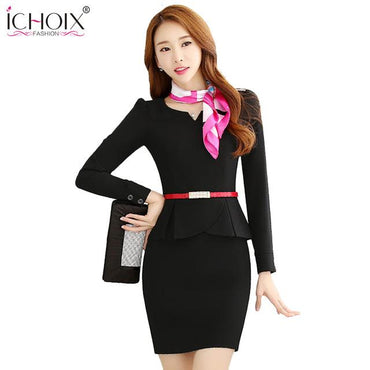 Autumn Women Elegant Formal Office Pencil Skirts Suits&Set.