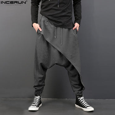 INCERUN Plus Size Men Casual Drape Drop Crotch Harem Hip Hop Pants.