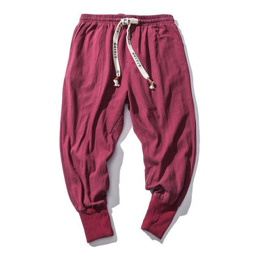 MRDONOO Japanese cotton flaxen trousers ankle banded Harem Pants.
